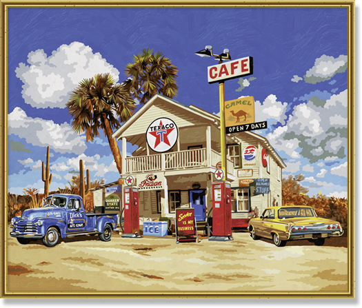 Old American Gas Station (50 x 60 cm)
